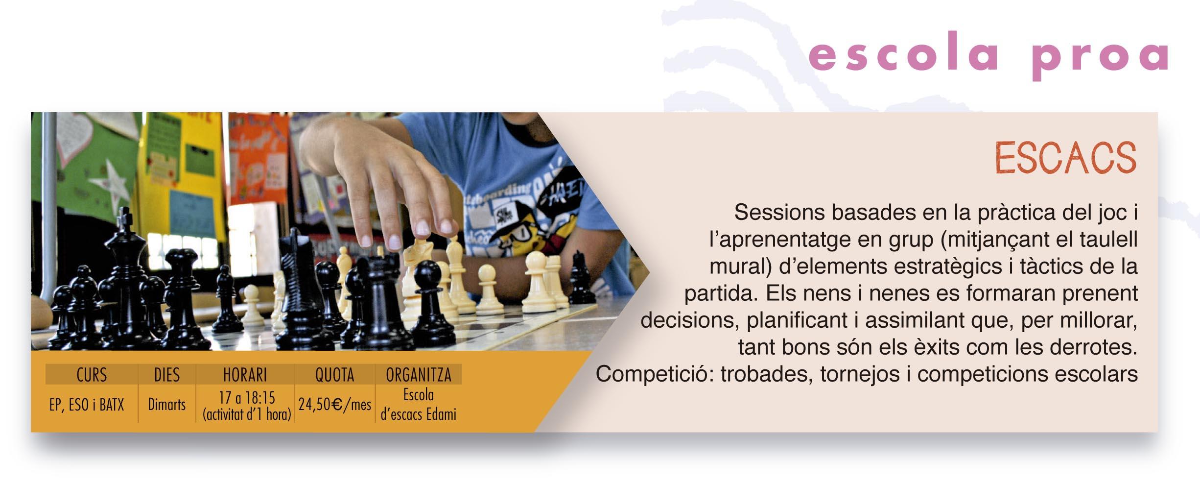 escola proa extra lectives escacs